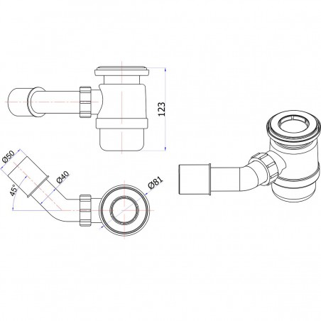 Siphon McAlpine STW4-R 70 mm 45°
