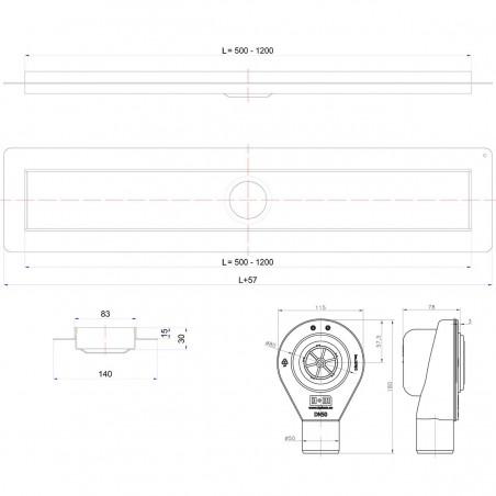 Douchegoot Wiper 1100 mm Premium Zonda